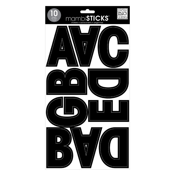 Black Jumbo Uppercase Alphabet Stickers