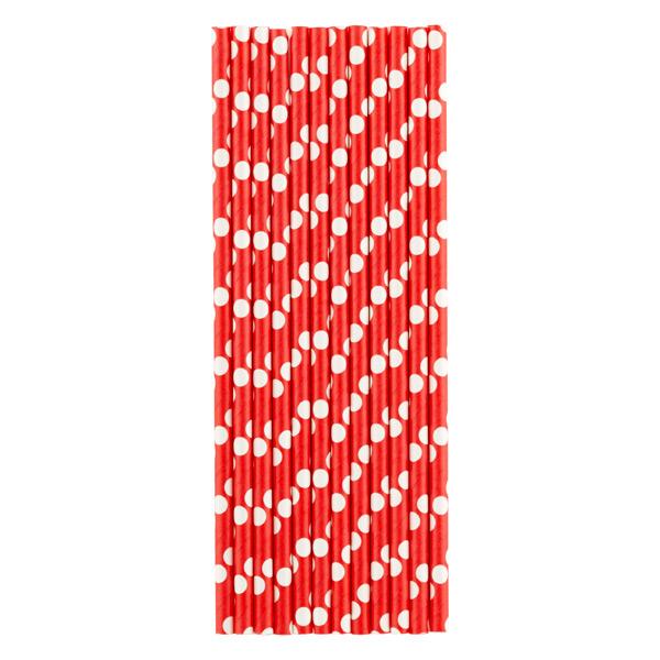 Paper Straws Dots Red/White Pkg/25
