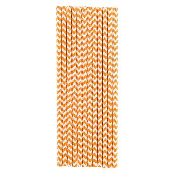 Paper Straws Chevron Orange Pkg/25