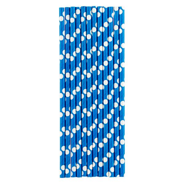 Paper Straws Dots Blue/White Pkg/25