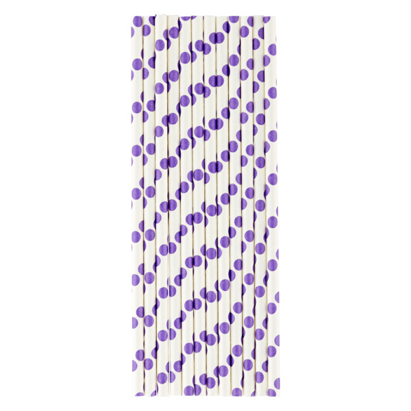 Paper Straws Dots White/Purple Pkg/25