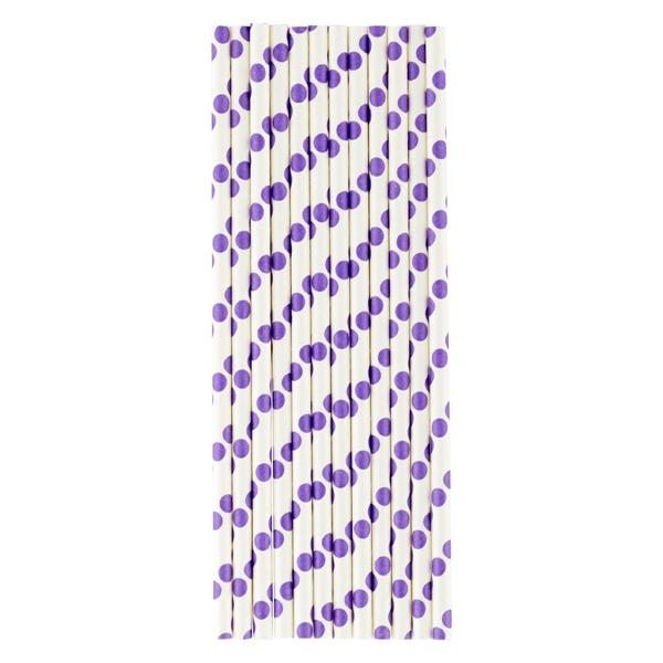 Paper Straws Dots White/Purple Pkg/25