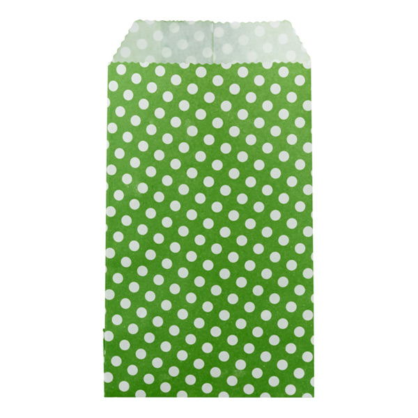 Mini Dots Treat Sacks Green Pkg/25