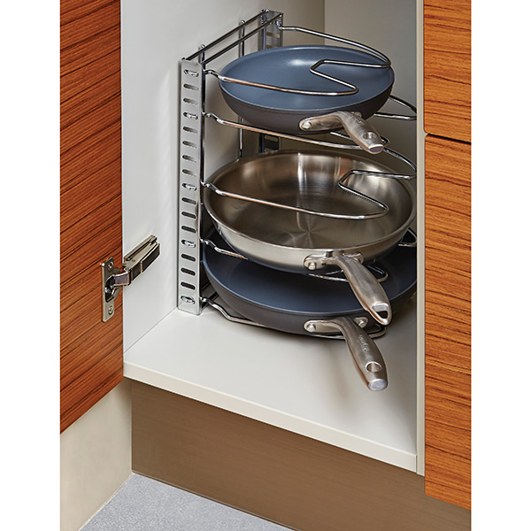 kitchen cabinet organizers for pots and pans chrome cookware organizer the container 9652