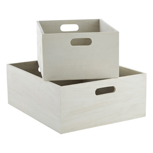 Whitewashed Wooden Storage Bins with Handles