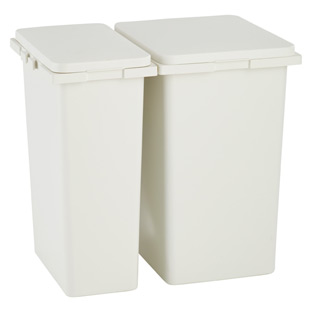 Iris White Connectable Trash Cans With Hinged Lids