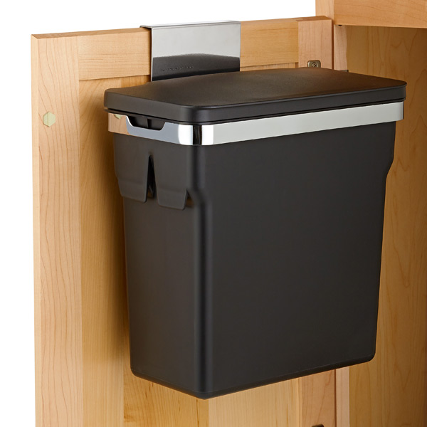 simplehuman Black In-Cabinet 2.6 gal. Trash Can | The Container Store