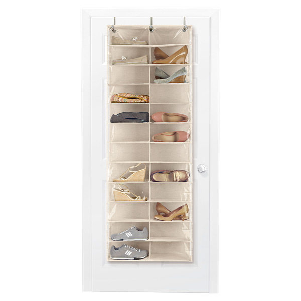 24-Pocket Overdoor Shoe Organizer Natural