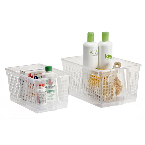 clear handled storage baskets the container store rh containerstore com Canvas Storage Baskets for Shelves Walmart Storage Bins and Baskets