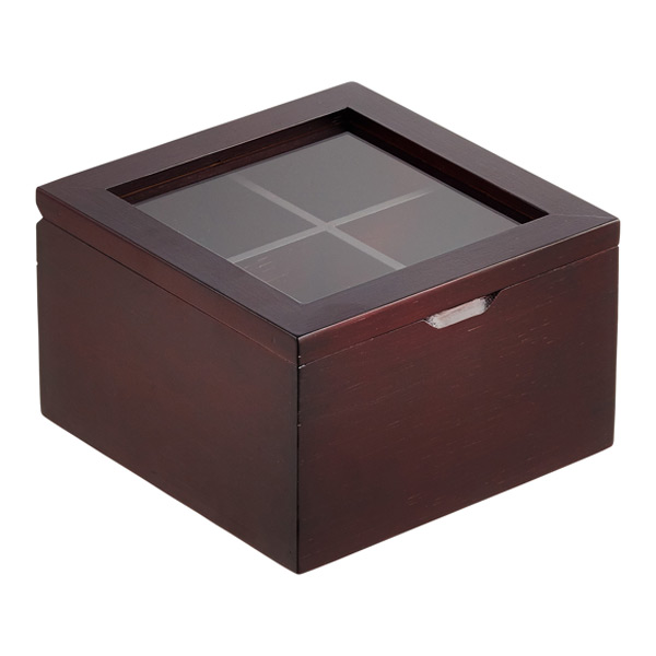 Square 4-Section Tea Box Mahogany