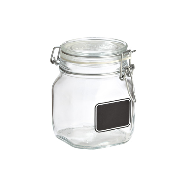 Bormioli 25 oz. Hermetic Jar w/ Chalk Label 750 ml.