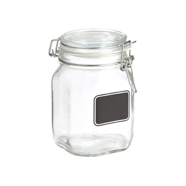 Bormioli 34 oz. Hermetic Jar w/ Chalk Label 1000 ml.