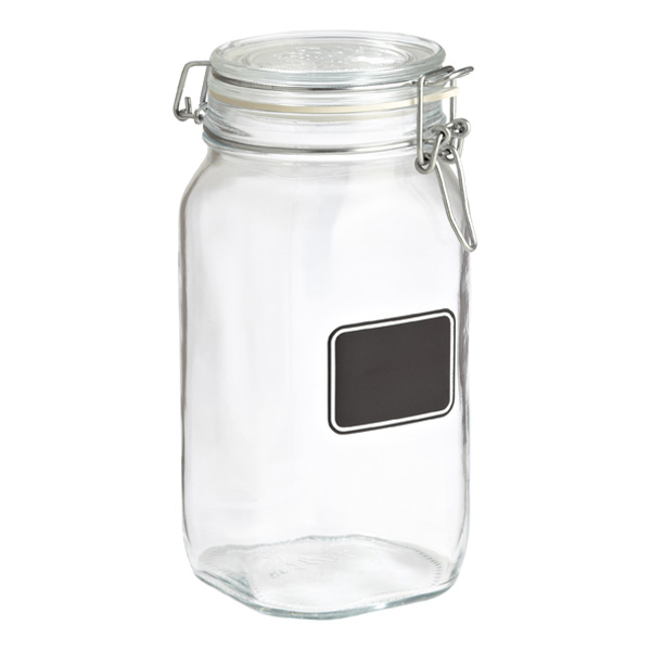 Bormioli 1.6 qt. Hermetic Jar w/ Chalk Label 1500 ml.