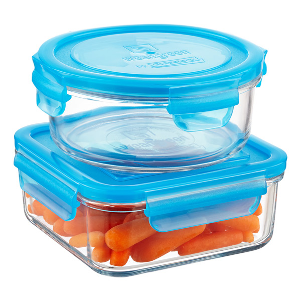 Wean Green Glass Food Storage Containers with Blue Lids