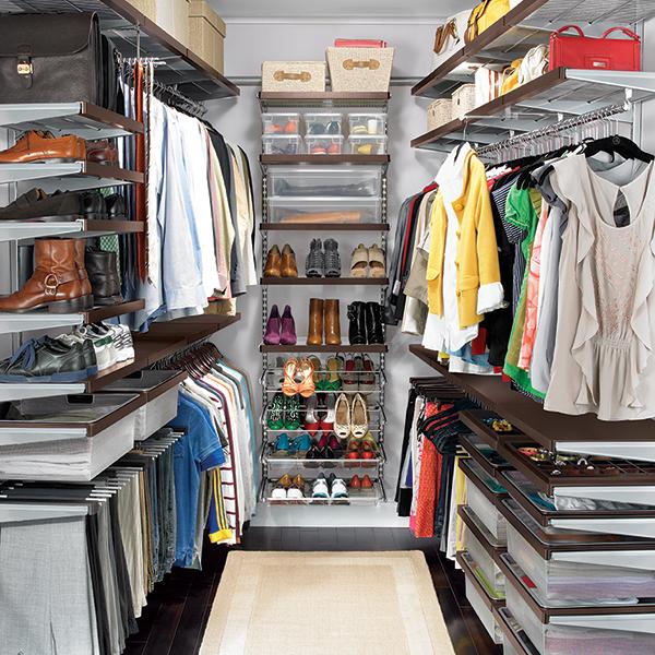 Walk In Closet Solutions: Walnut & Platinum Elfa Décor Walk-In Master Closet