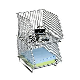 Silver Mesh Mini Stackable Storage Bin
