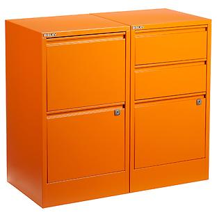 Bisley Orange 2- & 3-Drawer Locking Filing Cabinets