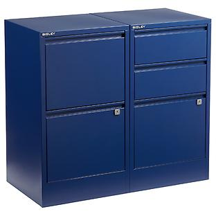 Bisley Oxford Blue  2- & 3-Drawer Locking Filing Cabinets