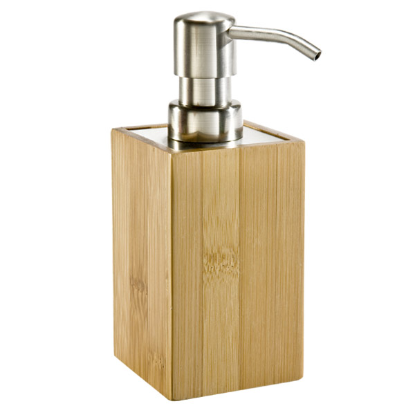 14 oz brushed nickel foaming soap pump the container store for Distributeur savon liquide mural inox