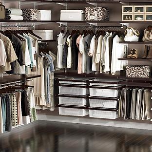Walnut & White elfa décor Master Walk-In Closet