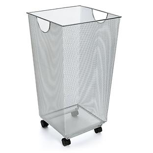 Silver Mesh Handy Bin With Wheels
