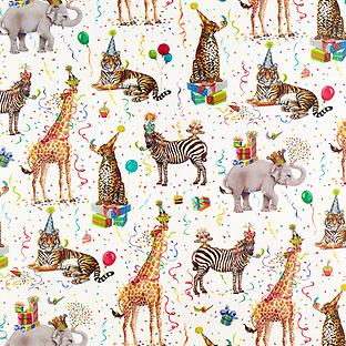 Wild Birthday Animals Wrapping Paper