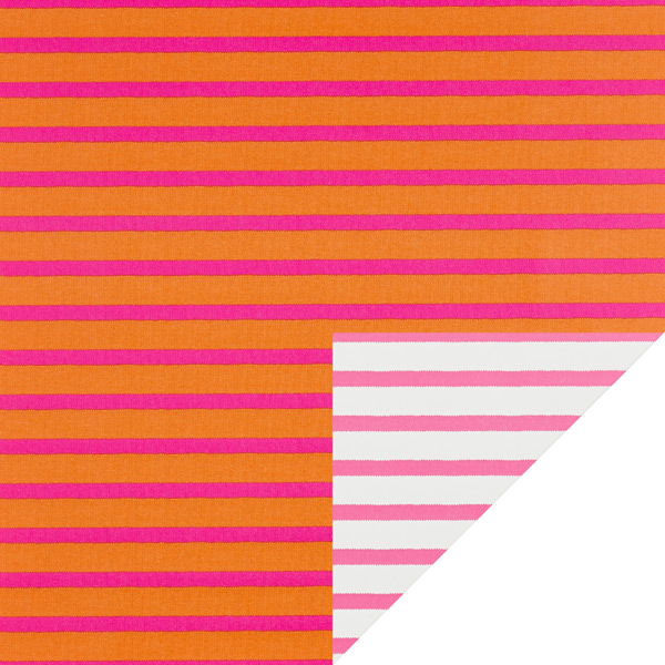 Pink & Orange Stripe Reversible Gift Wrap