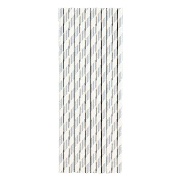 Paper Straws Stripe Silver Pkg/25