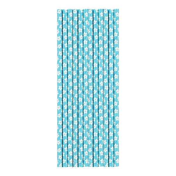 Paper Straws Flower Aqua Pkg/25