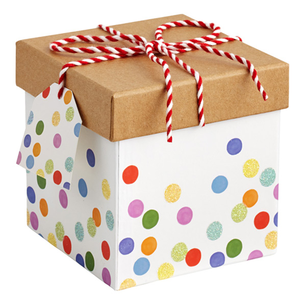 Square Twine Trinket Box Dots Multi