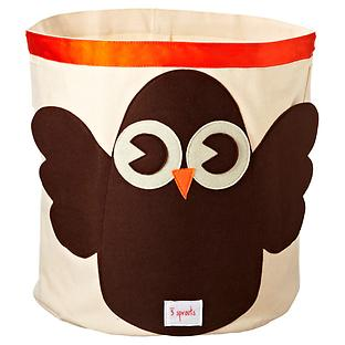 3 Sprouts Owl Canvas Toy Storage Bin