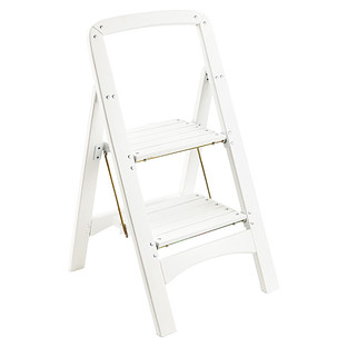 White 2-Step Wooden Folding Stool