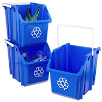 Blue 6 Gal. Stackable Recycle Bin With White Handle