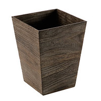 Square Feathergrain Wood Wastebasket