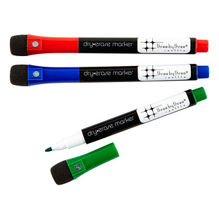 Three by Three Classic Magnetic Dry Erase Markers
