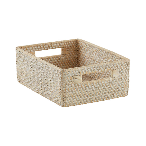 Medium Rattan Bin w/Handles Whitewash