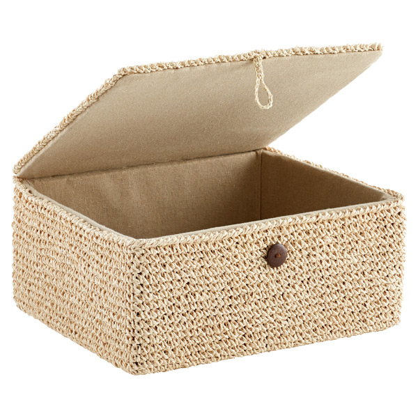 Natural Crochet Storage Box With Hinged Lid The