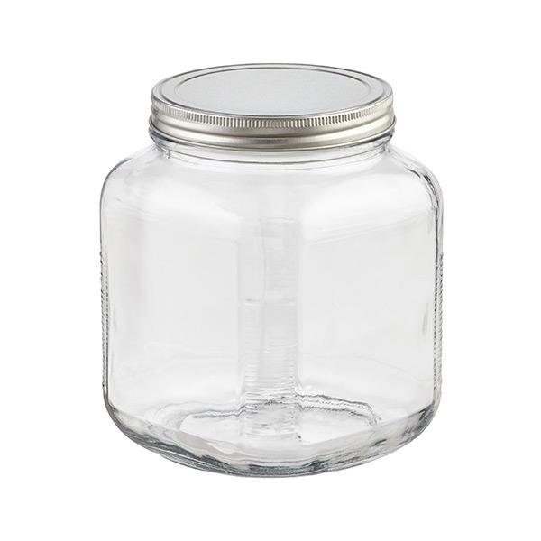 2 qt. Glass Cracker Jar Aluminum Lid