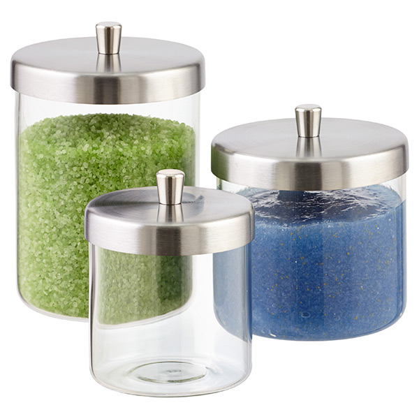 Apothecary jars glass apothecary jars the container store for Bathroom containers with lids