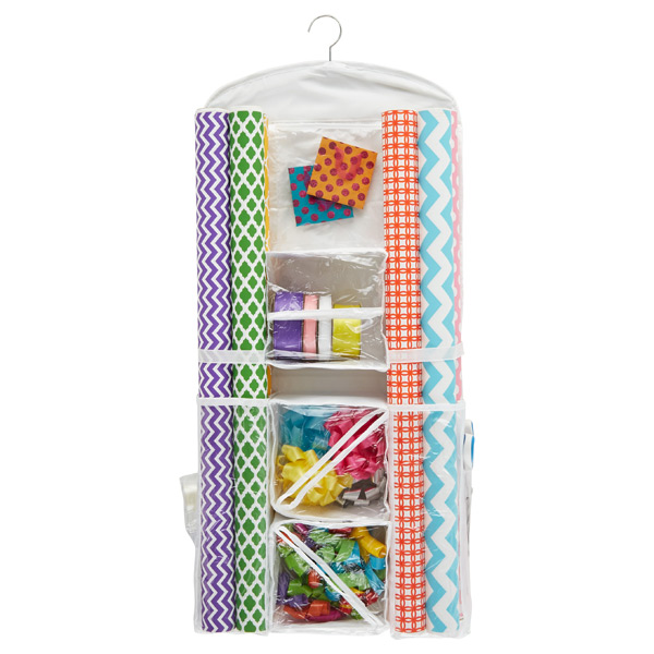 hanging gift wrap organizer the container store. Black Bedroom Furniture Sets. Home Design Ideas