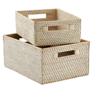 Whitewash Rattan Storage Bins with Handles