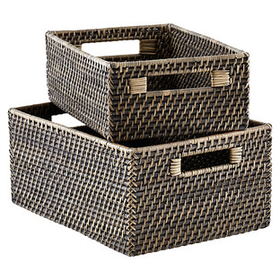 Blackwash Rattan Storage Bins with Handles