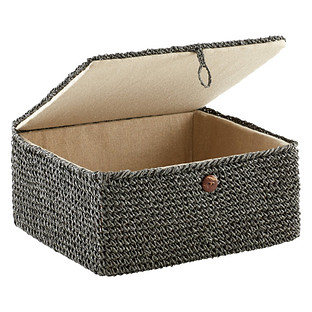 Delicieux Grey Crochet Storage Box With Hinged Lid