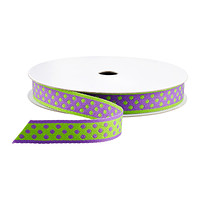 Purple & Green Dot Reversible Ribbon