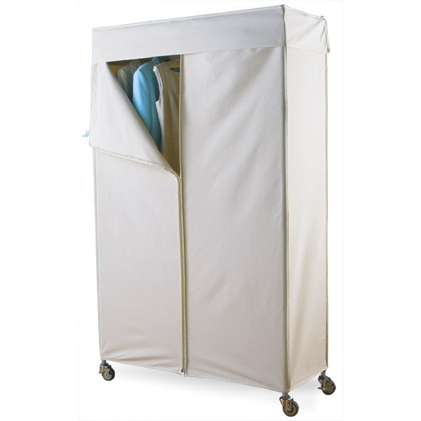 clothing shelves intermetro clothes rack with cotton canvas cover the container store