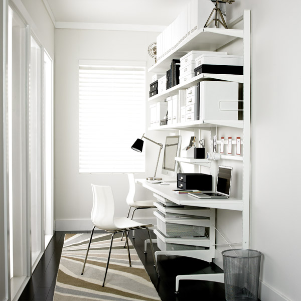 White Elfa D 233 Cor Freestanding Office The Container Store