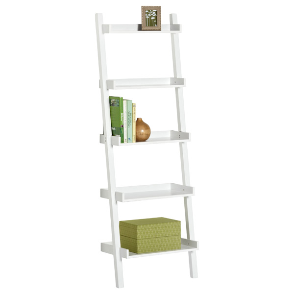 White Linea Leaning Bookcase
