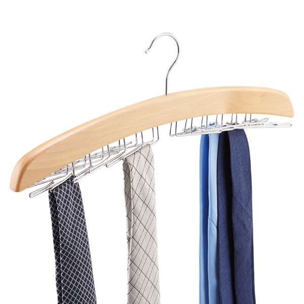 Natural 24-Tie Wooden Hanger