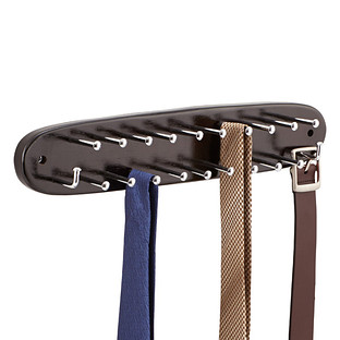 Walnut Wooden Tie & Belt Rack