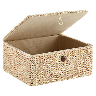 Natural Crochet Storage Box with Hinged Lid